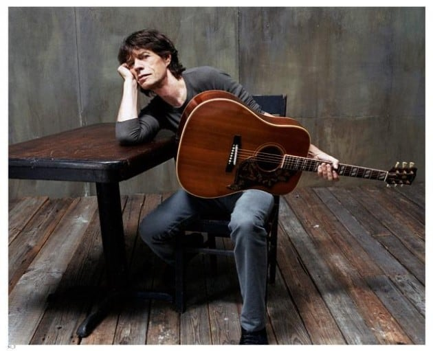 Mick Jagger with acoustic guitar (Headline)